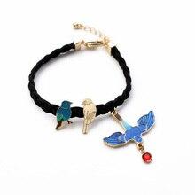 Shi Jie Personality Jewelry Blue Bracelet Enamel Zinc Alloy Black Braided Rope Birds Pendants