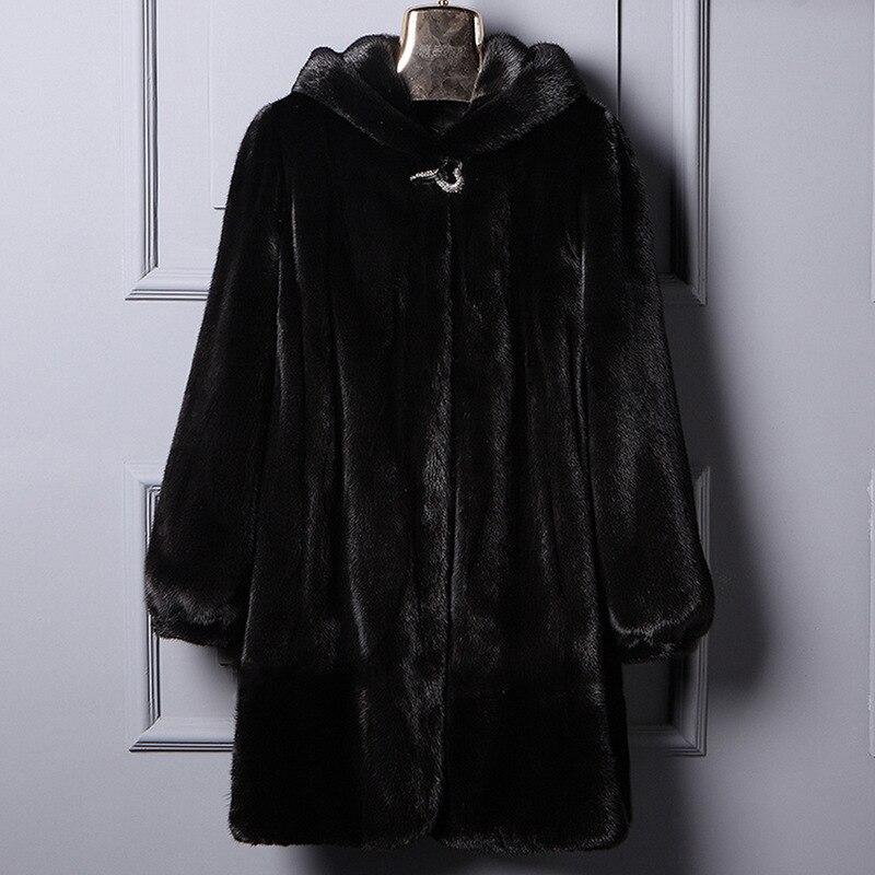 2018 new fur imitation fur coat, medium-length mink coat, large-size mink coat