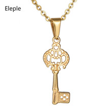 Eleple Simple Titanium Steel Hollow Key Clavicle Chain Necklace for Ladies Gold Color Stainless Retro Jewelry Gifts S-N268