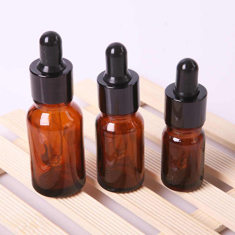 สีน้ำตาลแก้วสำหรับน้ำมันหอมระเหย Dropper ขวด Liquid แก้วเติมขวด Amber แก้วขวด Dropper P15 0.5