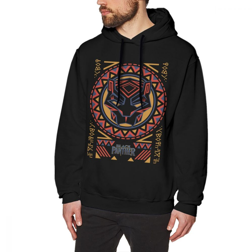 cheap for discount 23a10 816de US $19.22 38% OFF|Black Panther Hoodie Panther Head Tribal Pattern Hoodies  White Cotton Pullover Hoodie Long Length Stylish Outdoor XXX Hoodies-in ...