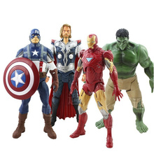 4PCS Set 20cm Avengers Super Heroes Captain America Thor Hulk Iron Man PVC Action Figure Model