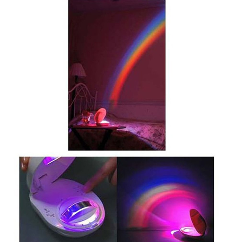LED Rainbow Night Light Timer Light Colorful Rainbow Projector Lamp Baby Kids Gift Novelty Home Bedroom Decoration