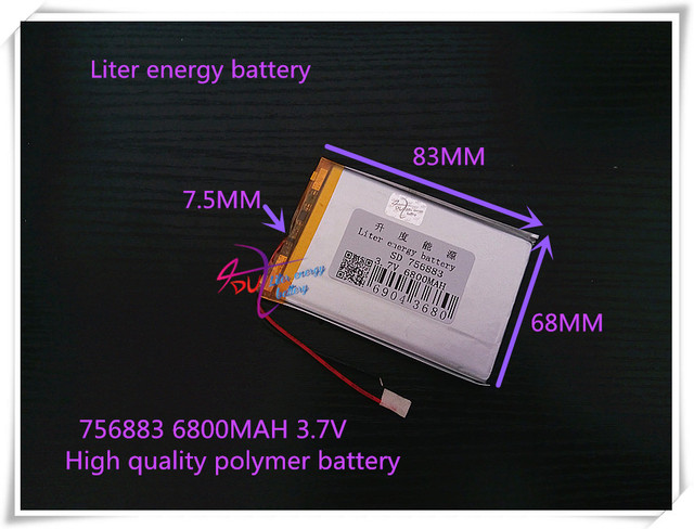 3.7V 6800mAh 756883 polymer lithium ion / Li-ion battery for power bank;mobile bank; tablet pc,e-book