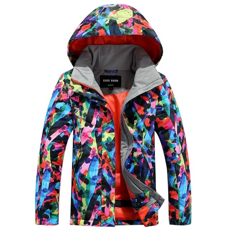 2018 Gsou neige enfants veste de Ski coupe-vent imperméable à l'eau en plein air Sport porter Ski Snowboard vêtements enfants manteau thermique veste