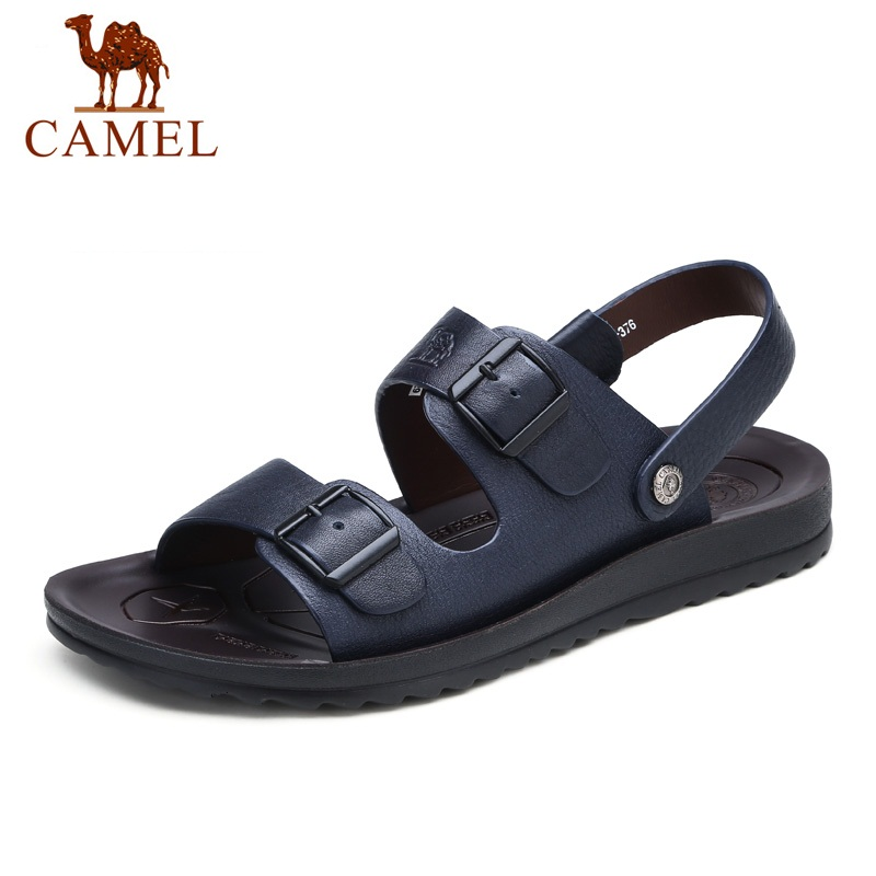 Camel Men 's Sandals Summer Leather Casual Open-Toed Sandals Male Beach Comfortable Sandals A622267142 camel men s outdoor anti collision toe cap cowhide casual beach sandals summer breathable river sandal male a622309222