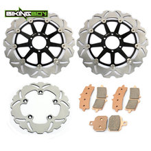 BIKINGBOY спереди и сзади тормозные диски роторов диски колодки для Aprilia RSV4 1000 R 2009 2010 2011 2012 RSV4 завод 09 10 11 12 двигателя