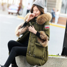 Large real raccoon fur 2017 winter duck down jacket women long coat parka army green thickening