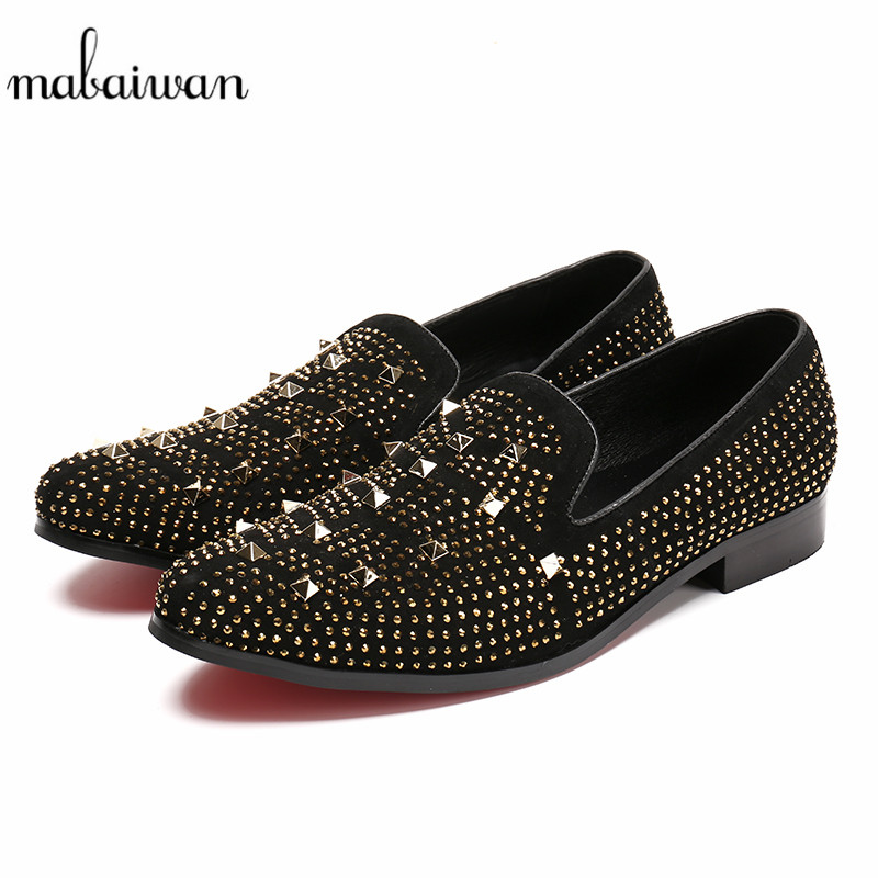 Mabaiwan Fashion Men Casual Shoes Handcrafted Slipper Black Suede Loafers Rivets Wedding Dress Shoes Men Slip On leather Flats mabaiwan fashion men shoes handcrafted embroidery flowers designs loafers smoking slipper wedding dress shoes men party flats
