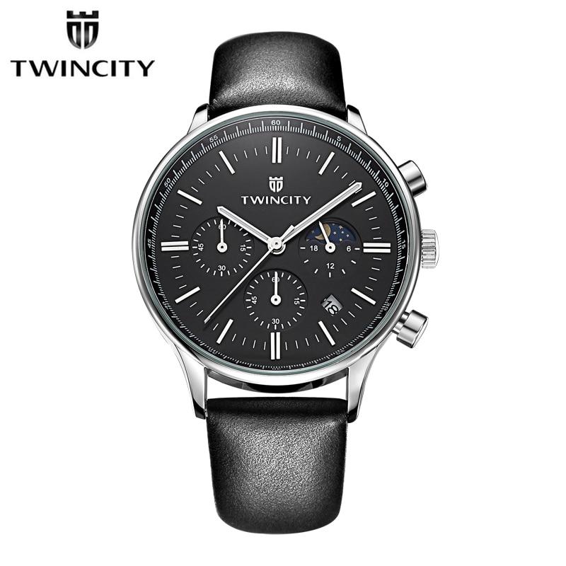 95c6053ca73 Twincity marca de luxo do esporte dos homens calendário de moda relógio de  couro genuíno relógios de quartzo dos homens seis-pin relógio de pulso  militar ...