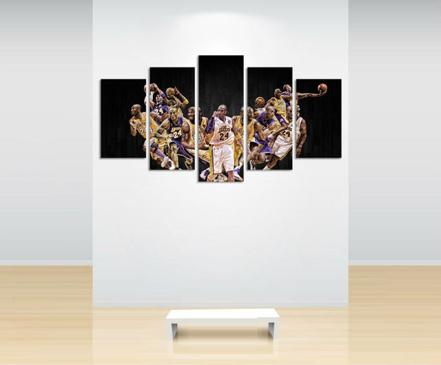5 panel large HD printed painting Kobe Bryant sport poster canvas ...