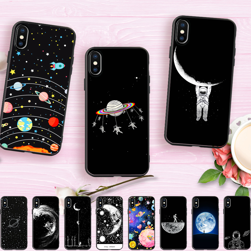 Yinuoda Cat Astronaut Dog Fox Space Moon Universe Black Soft Shell For Apple Iphone X And 8 8plus 7 7plus 6s 6s Plus 5 5s 5c Phone Bags & Cases Half-wrapped Case