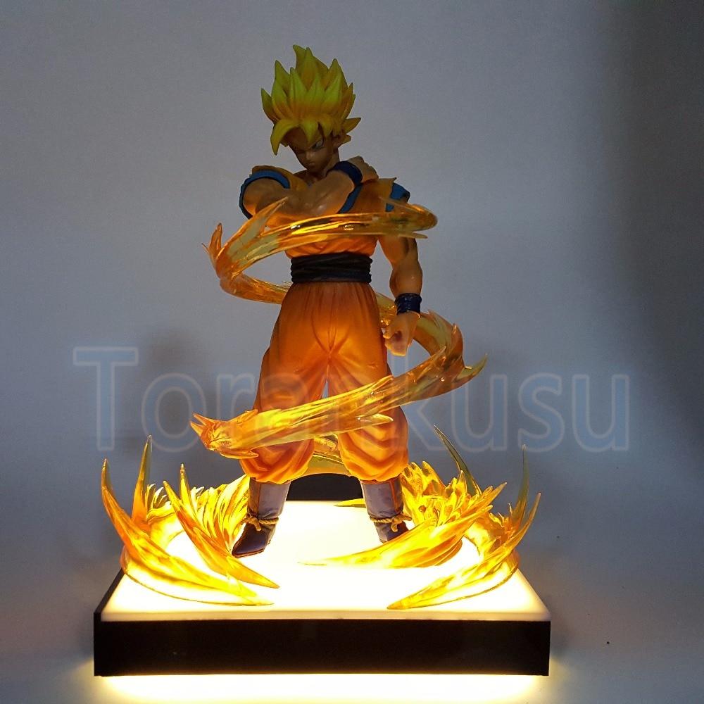 Dragon Ball Z Figurine Fils Goku ROS Base D'éclairage BRICOLAGE Modèle D'affichage Jouet Dragon Ball Super Saiyan Goku poupée DIY129
