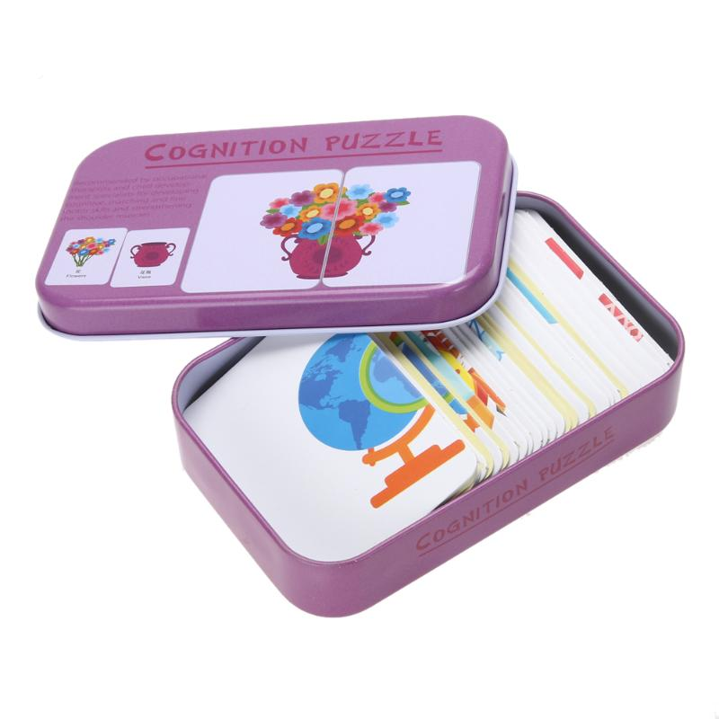 Baby Kids Cognition Puzzles Toys Toddler Iron Box Cards Matching Game Cognitive Cards Vehicl Fruit Animal Life Sets Pair Puzzles 8