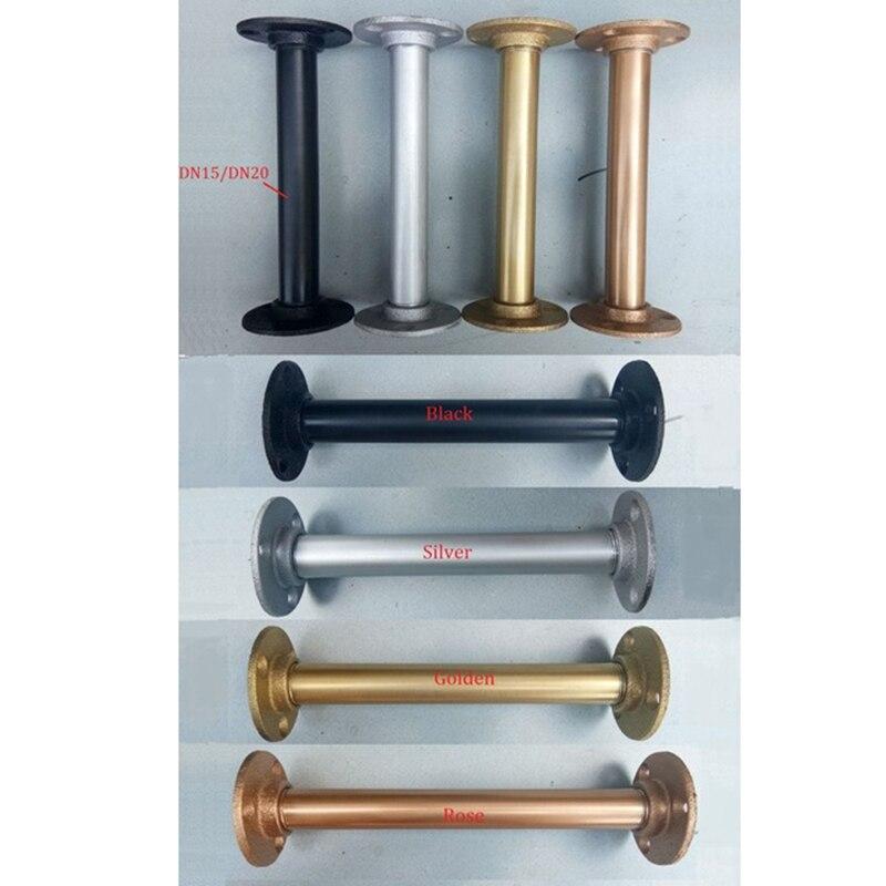Industrial Loft Rural DN15 DN20 Water Pipe Cast Iron Straight Bracket Furniture Support Shelf Holder Stand