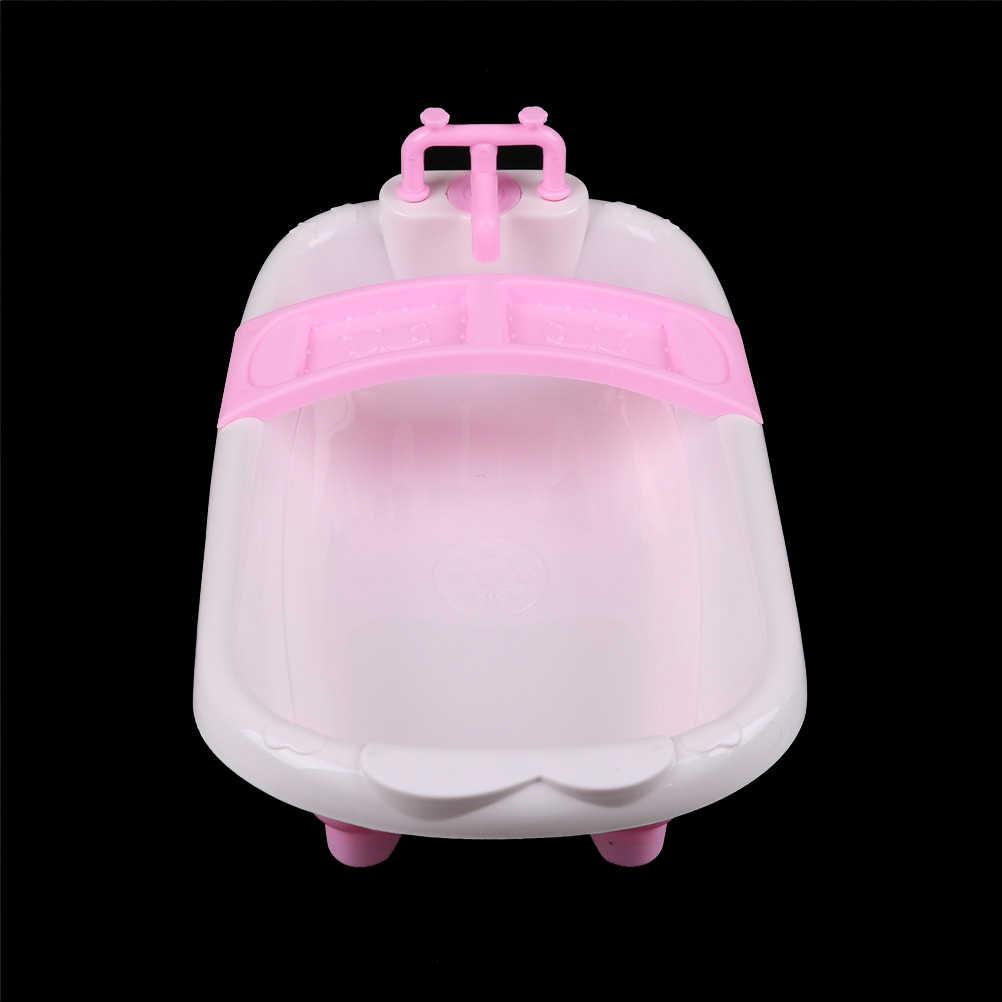 1 Juego de muebles de baño de plástico, bañera para muñecas de tamaño 1/6, juguetes para jugar a las casitas