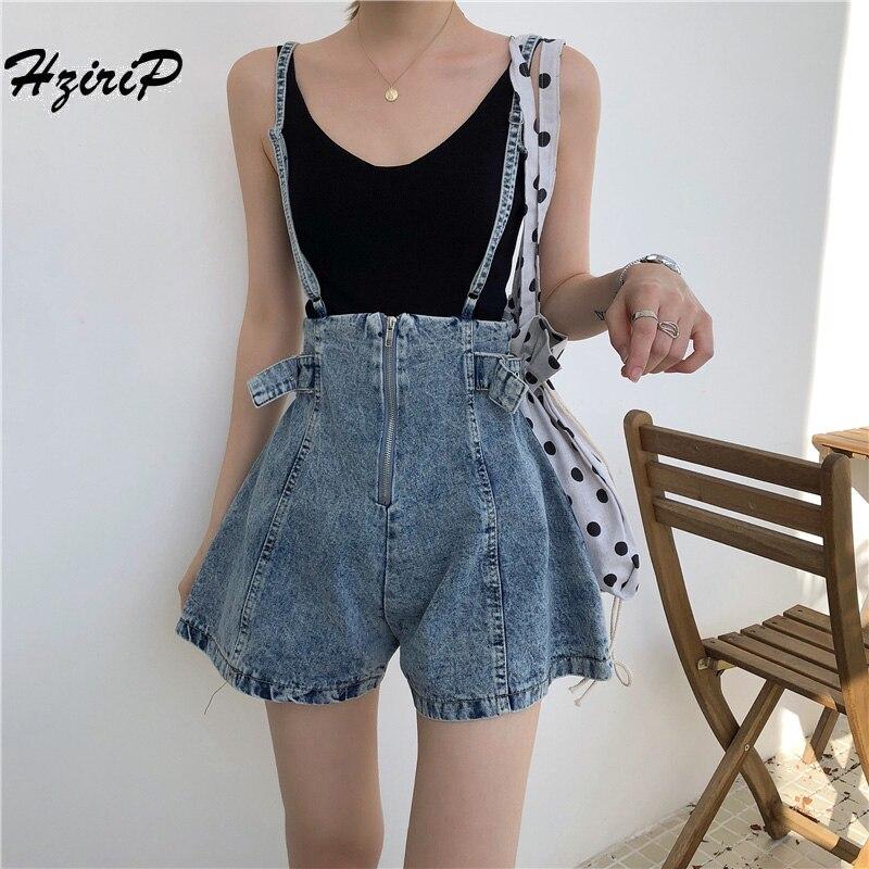 HziriP Women's Casual Suspenders Denim   Shorts   2018 Spring Summer Zipper Fly Denim Strap Student Sling Slim Thin   Shorts   Femme