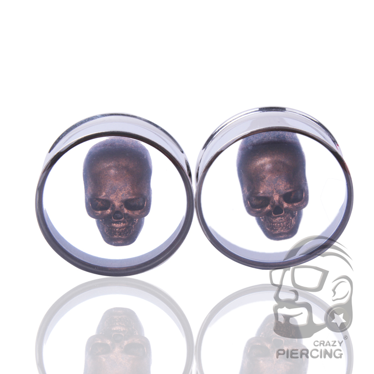 Skull Inside 3D Double Flare Ear Plug 316L Stainless Steel Flesh Tunnel Resin Ear Plug Body