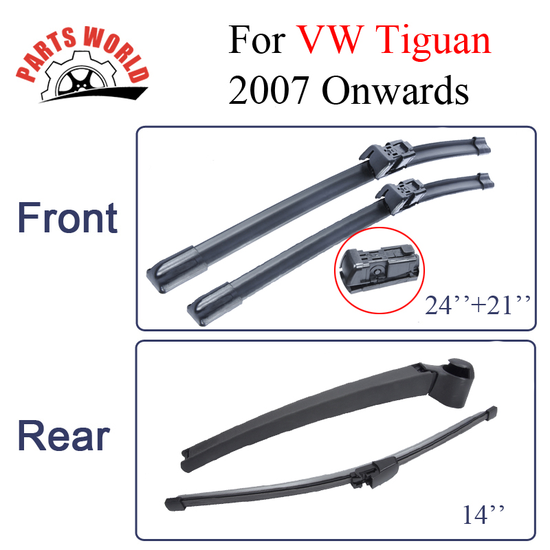 Front And Rear Wiper Blades For VW Tiguan 2007-2016 High Quality Rubber Windscreen Car Accessories картридж epson light cyan stylus photo r270 r290 rx590 c13t11254a10