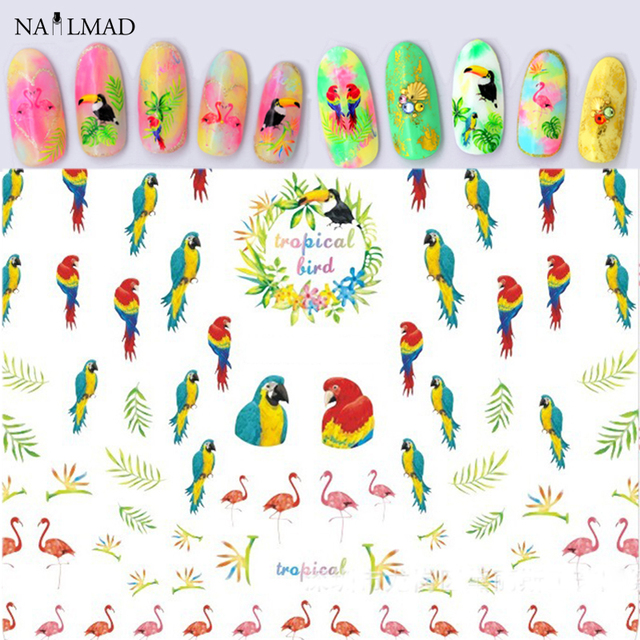 1 sheet tropical bird 3d nail art stickers flamingo nail sticker parrot adhesive nail decals tropical