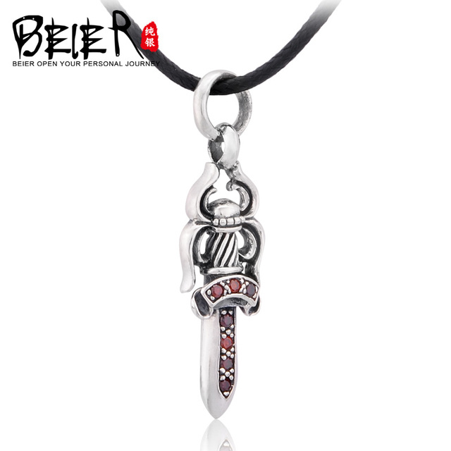 BEIER 925 Sterling Silver Man's Unique Brand Sword Pendant Necklace A2146