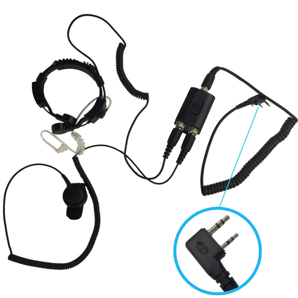 2pin Finger PTT Throat MIC Covert Acoustic Tube Earpiece Headset for BAOFENG NEW