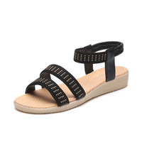 2017 Summer New Multi Color Stripe Summer Fashion Flat Sandals Five Colors Large Size 35 To
