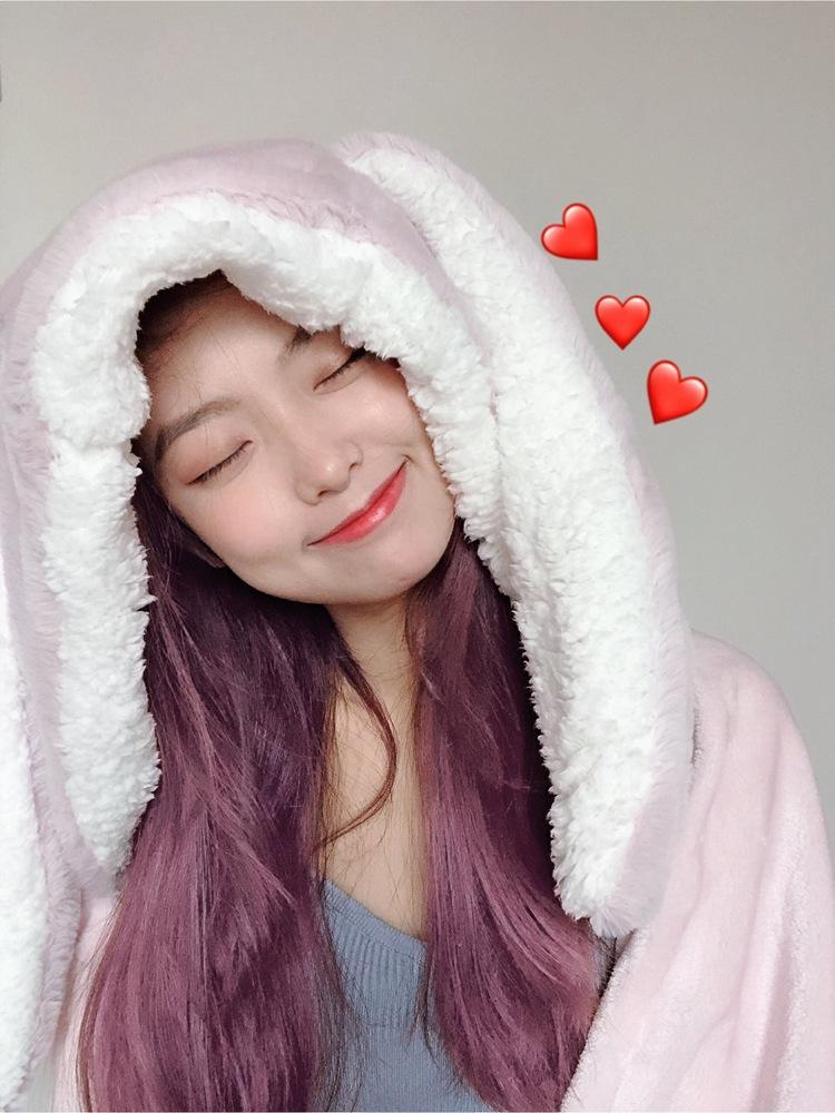 Cute Pink Comfy Blanket Sweatshirt Winter Warm Adults and Children Rabbit Ear Hooded Fleece Blanket Sleepwear Huge Bed Blankets 32