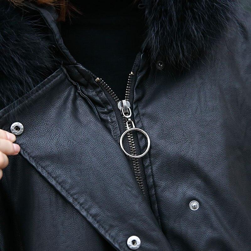 Cuir De xitao Lâche Mode En Manches Femmes Plein Unique Black Capuche Poitrine Nouvelles Faux Poche Col Lyh1548 Corée 2018 Automne tqw6rqT1