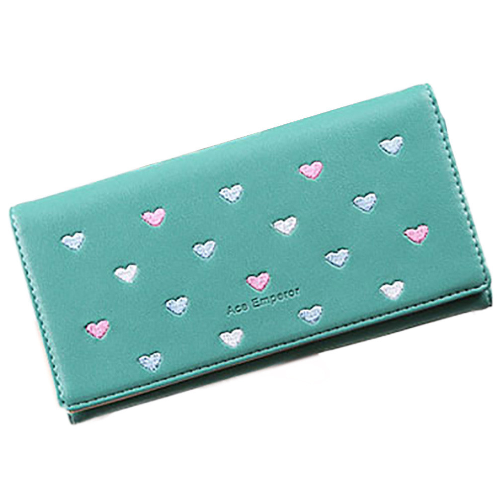 2016 new popular Women Love Heart Pattern Coin Purse Long Wallet Card Holders Handbag clutch gift