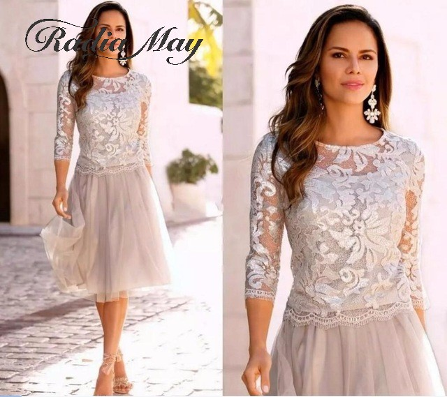 US $97.6 20% OFF|Silver Grey Lace Plus Size Mother of the Bride Dresses  with 3/4 Long Sleeves Knee Length Short Wedding Party Gowns Dinner Dress-in  ...
