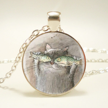 1pcs/lot Cat And Fish Pendant Necklace Long Chian Statement Handmade Fashion Necklace Jewelry HZ1