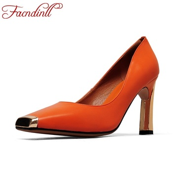 FACNDINLL genuine leather women pumps new 2019 fashion sexy thick high heels woman dress party office ladies shoes size 34-41