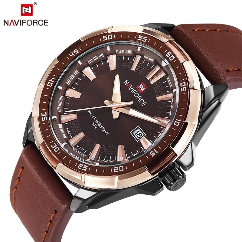 2018 NAVIFORCE Marca Hombre Moda Casual Relojes Deportivos Hombres Cuero Impermeable Reloj de cuarzo Hombre militar Reloj Relogio masculino