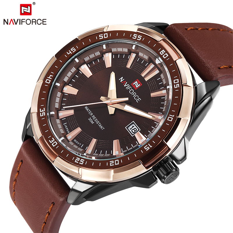 2018 NAVIFORCE Brand Men's Fashion Casual Sport Watches Men Waterproof Leather Quartz Watch Man military Clock Relogio Masculino