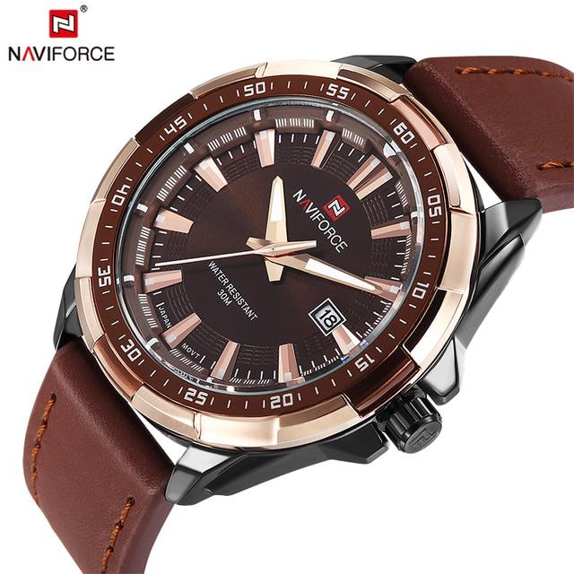 2018 NAVIFORCE Brand Men's Fashion Casual Sport Watches Men Waterproof Leather Q