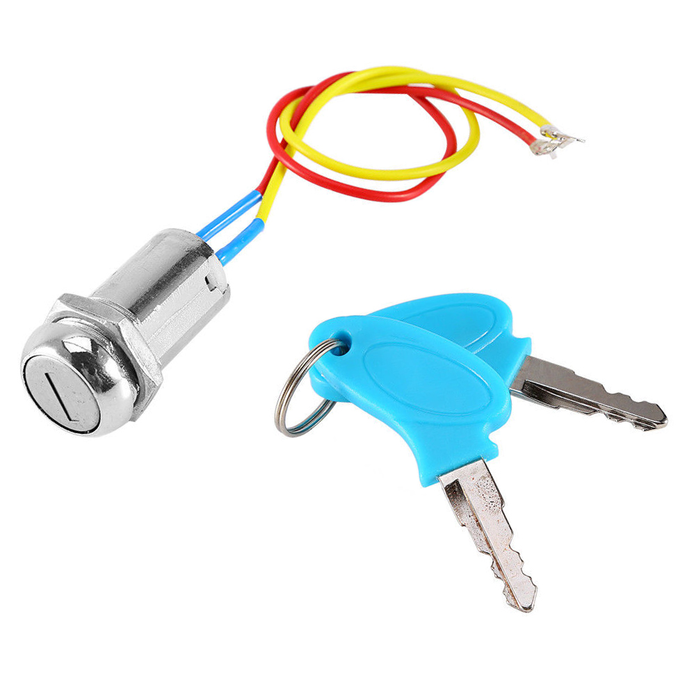 Ignition Key Switch Lock Electric 2 Wires with Keys for ATV Dirt Scooter Kart Bike TD326