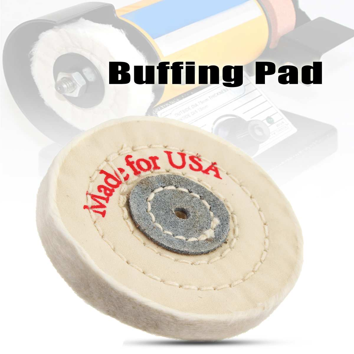 1Pcs 75x10mm  White Round Shape Buffing Pad Cotton Cloth Wool Clean Polishing Buffing Bonnet Pad
