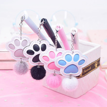 24pcs Gel Pens Kawai Pendant Cat Claw Black Colored Gel-ink for Writing Cute Stationery Office Stationeries Supplies 0.5mm