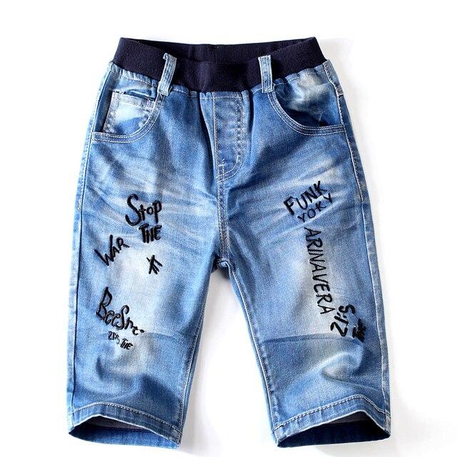 Nuevo 2018 pantalones cortos informales de Jean para niños, pantalones de algodón para niños, pantalones de mezclilla de alta calidad, deportes al aire libre, pantalones para adolescentes