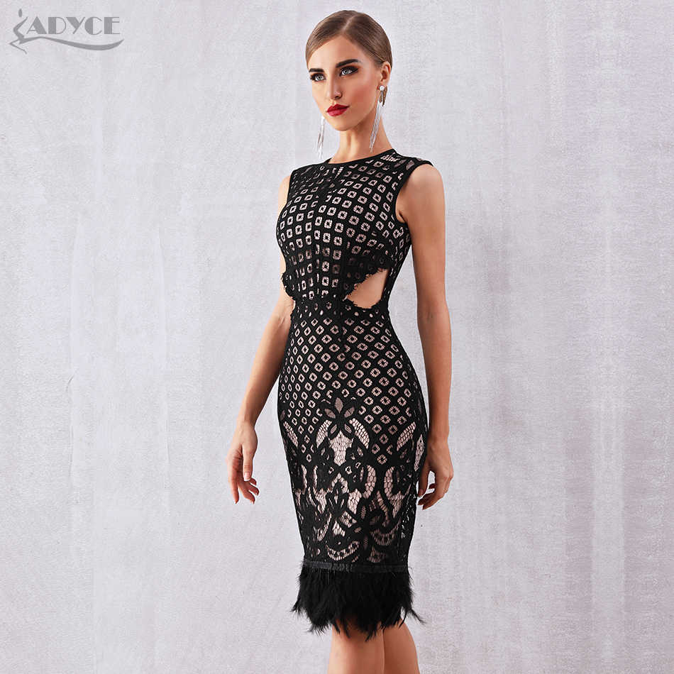 13dad63253f ... Adyce 2019 New Summer Bandage Dress Women Elegant Black Sleeveless Sexy  Feather Bodycon Club Lace Dress ...