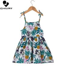 Chivry Summer 2019 New Little Girls Fashion Sleeveless Print A-line Princess Dress Sling Strapless Dresses Kids Vestidos