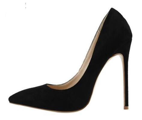 все цены на Stilettos Elegant Women Shoes Sexy Pointed Toe High Heels 12CM Office Lady's Pumps Wedding Party Suede Leather Shoes For Woman онлайн