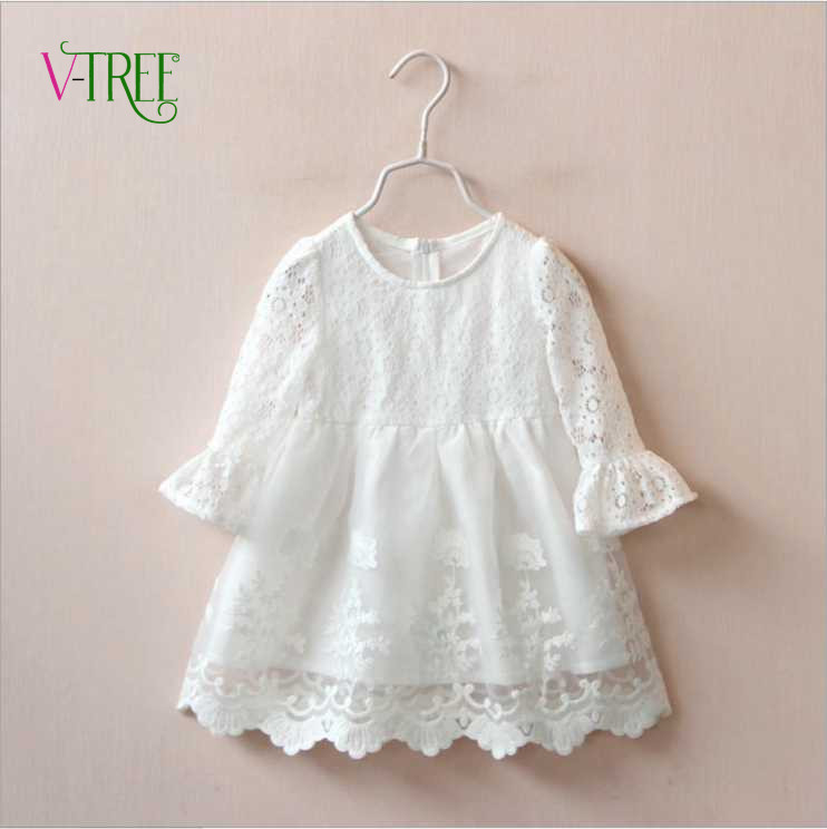 Fashion baby girls princess dress white lace girl party wedding dress long sleeve kids clothes tops outwear baby clothes 2-7Year