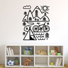 Free shipping  Vinyl wall art sticker Home decor Cycling Mountain Bike Wall Decal Outdoor Removable Decals Mural Wallpaper