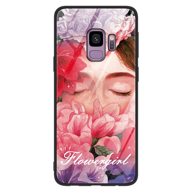 Tempered glass Coque For Samsung Galaxy A50 S8 S9 Plus Note 9 A7 2018 A8 A6 J4 Plus A6S M10 M20 J7 Prime Soft TPU Water Cup Case