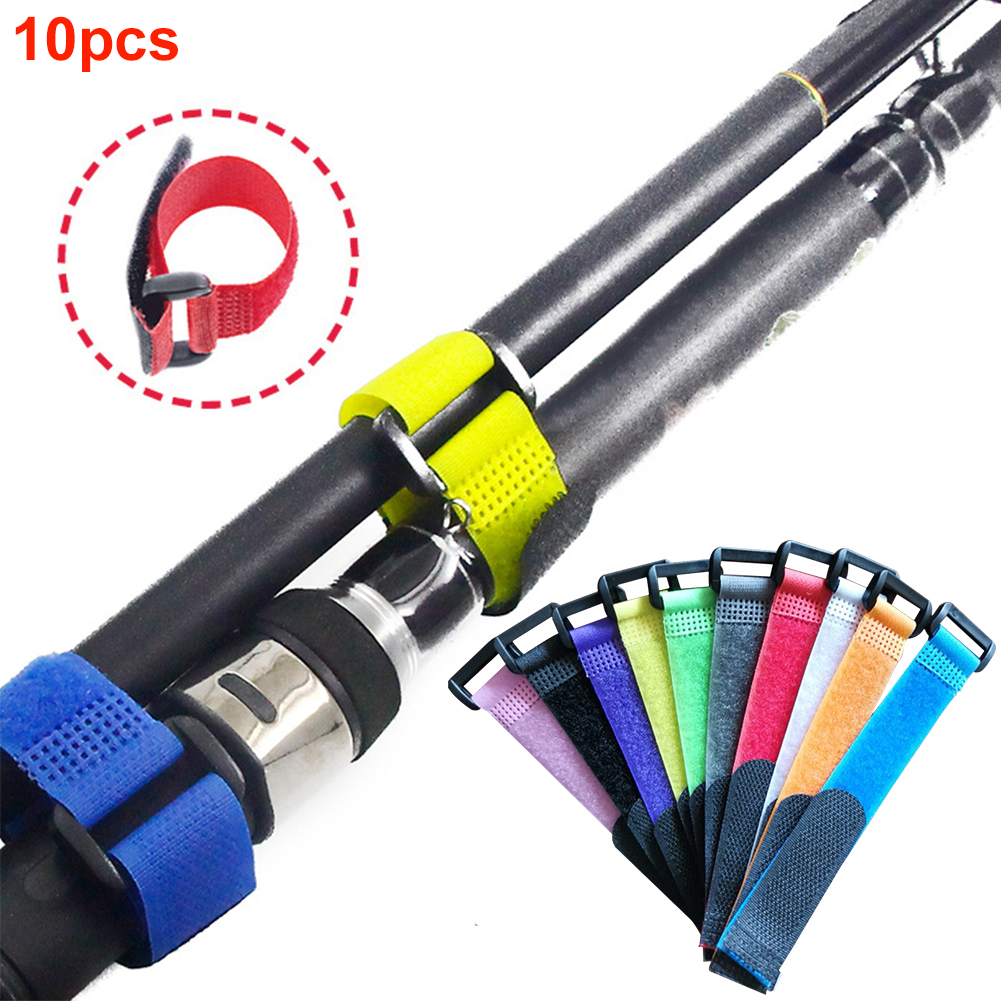 10pcs Belt Fishing Rod Band Nylon Adjustable Fixing Tie Outdoor Pole Magic Sticker Portable Strap Wrap Tool Anti-slip Reusable