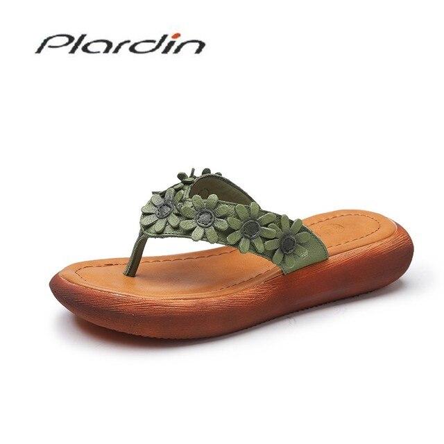 Plardin Nova Boemia Verão Mulheres Casuais Cunhas Plataforma Mulher Senhoras de Metal Decoração Sandálias Das Mulheres Genuína Mulher Sapatos de Couro