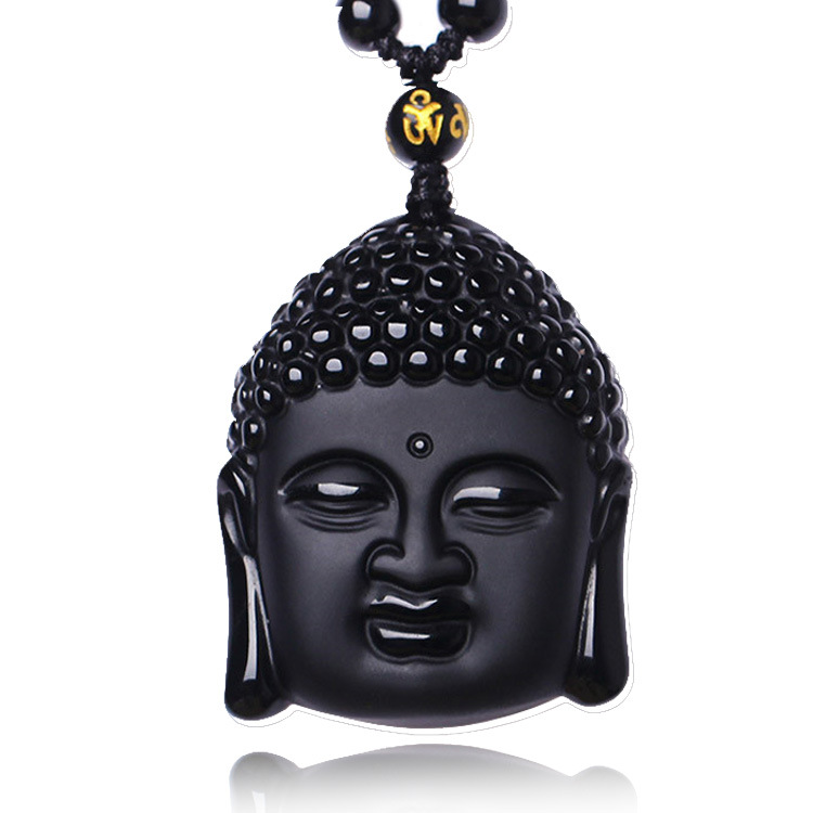 2016 New High l Obsidian Crystal Unique Products Adjustable Chain Fashion Crystal Sakyamuni Bead Buddha Necklace for Men/Women