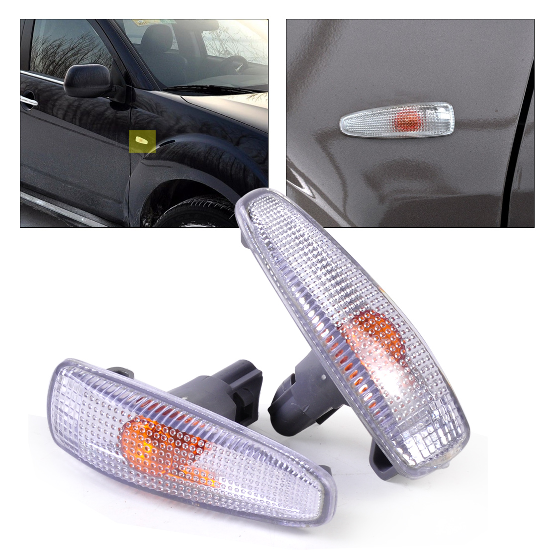 DWCX New 2Pcs Left & Right Turn Signal Lamp Lights Fender Side 8351A047 for Mitsubishi Lancer 2008 2009 2010 2011 2012 2013 2014 2pcs right